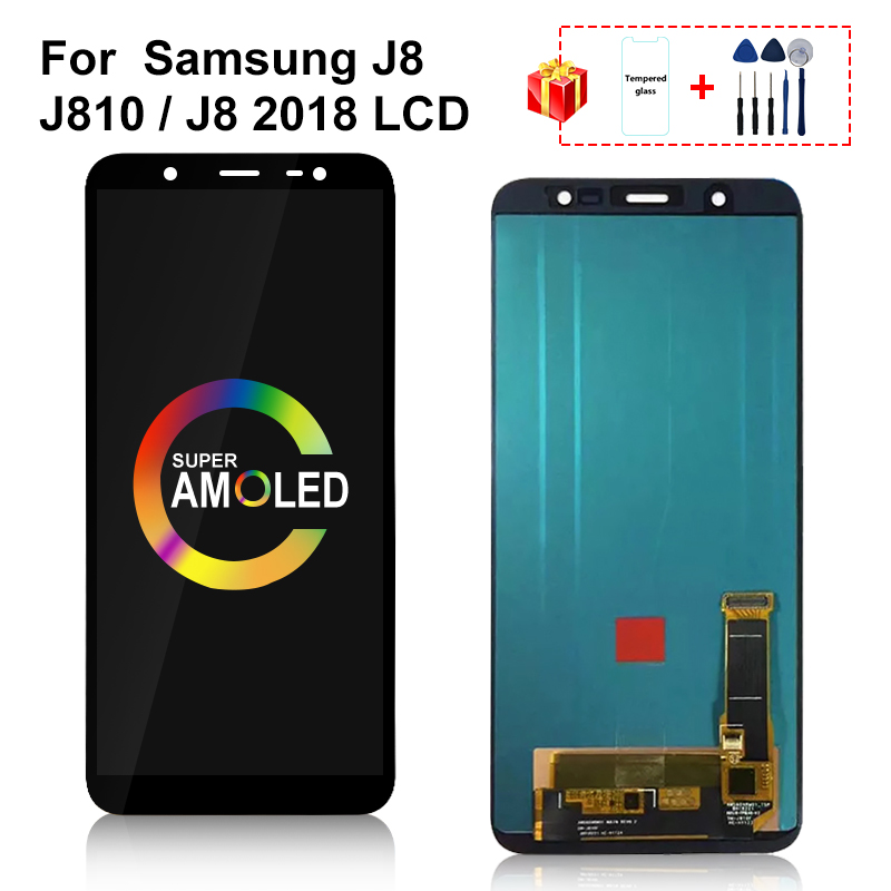 AMOLED For <font><b>Samsung</b></font> Galaxy <font><b>J8</b></font> <font><b>2018</b></font> <font><b>LCD</b></font> Display Touch Screen Digitizer Replacement For <font><b>Samsung</b></font> J800 J810 J800FM SM-J800 <font><b>LCD</b></font> image