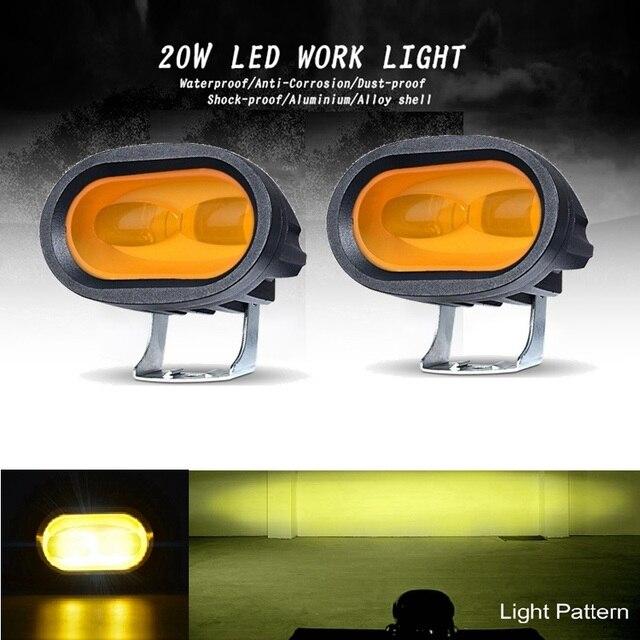 작업 빛 20W LED Sopot 램프 6D 운전 트럭 12V 24V 보조 유니버설 앰버 옐로우 화이트 오프로드 오토바이 개조