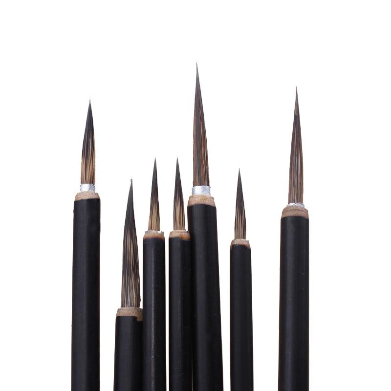 Seiko Hook Line Painted Leaves Tendon Writing Brush Stone Badger Chinese Painting Calligraphy Large Medium Litte Jade Tablet Pen
