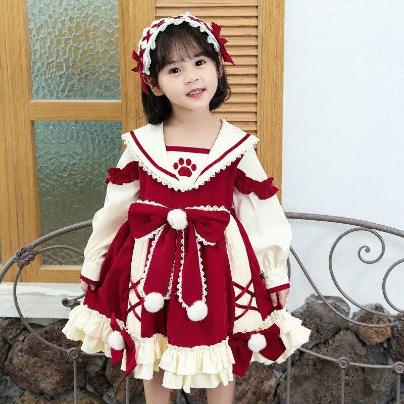 Children's Princess Dress Autumn 2020 New Girls' Dress Christmas Lolita Bow Long Sleeve Children's Skirt