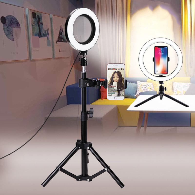 10cm 26cm Selfie Ring Light Youtube Video Live Photography Dimmable LED Photo Studio Light Tripod For iPhone Xiaomi Canon Nikon