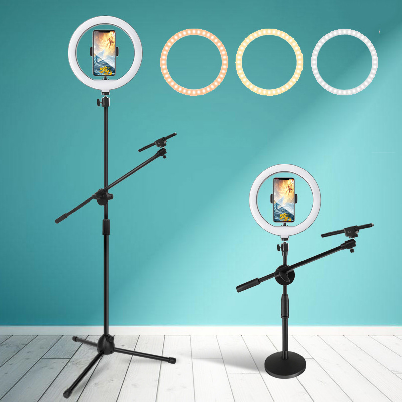 10inch LED Fill Light Ring Lamp Adjustable Photography Dimmable light for For YouTuber Video With Phone Holder Tripod USB Plug