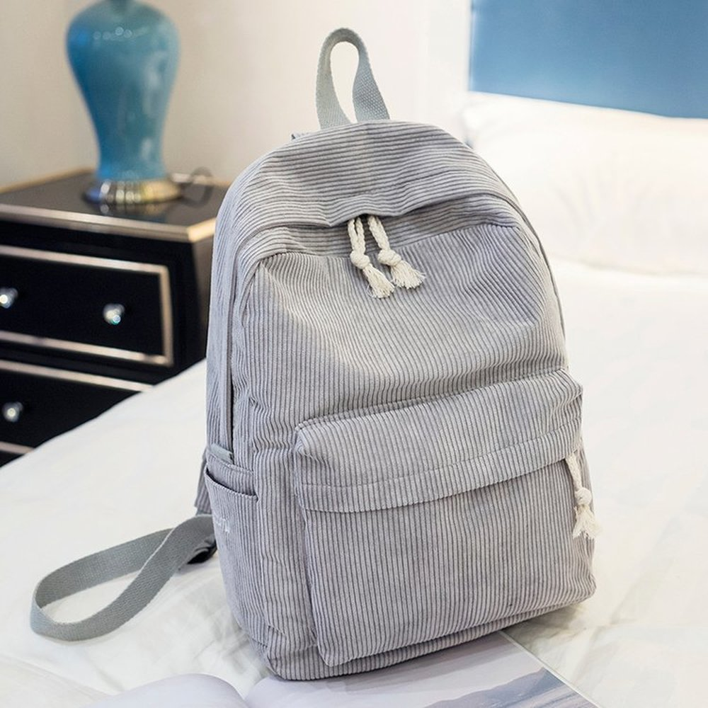 Women Backpack Soft Fabric Female Corduroy Design Large Capacity School Bag For Teenager Girls Preppy Style Striped Backpack Sac