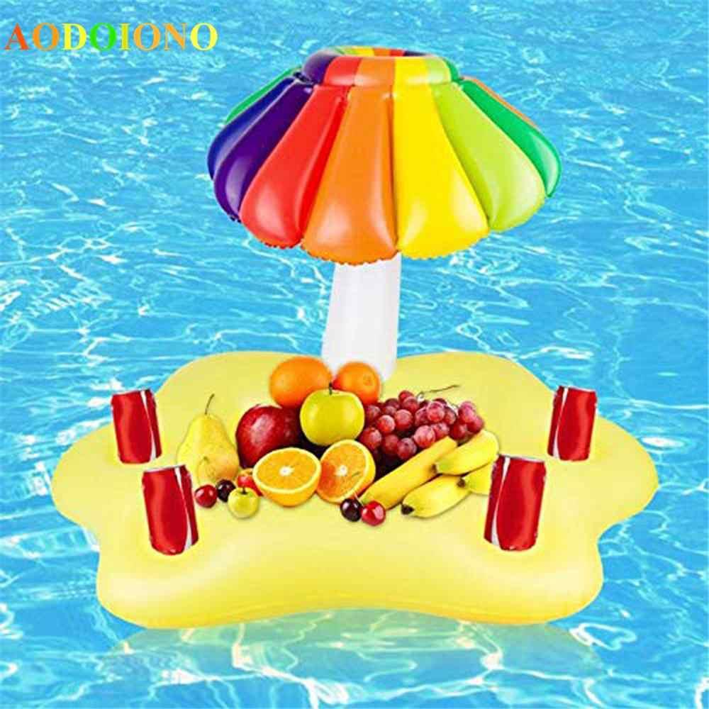 Pesta Musim Panas Ember Sun Payung Pemegang Cangkir Inflatable Pool Float Bir Minuman Cooler Tabel Bar Nampan Pantai Berenang Kolam Renang Aksesoris