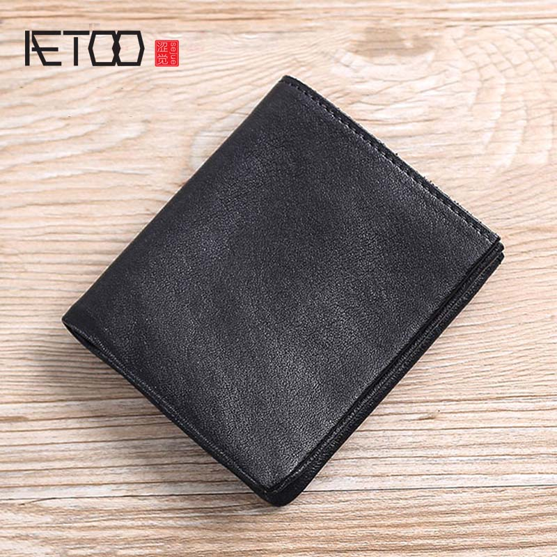AETOO Leather Wallet, Men's Short Casual Multi-card Bit Zero Wallet, Men's Head Layer Implanted Cowhide Small Leather Clip
