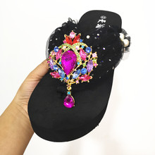HAHAFLOWER Summer new hand-sewn yarn luxury diamond thick sole with flip-flop color jewel muffin slippers 34-44
