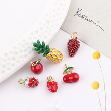 10pcs 3D Fruit Enamel Charms Pineapple Strawberry Cherry Metal Pendants Charms Earrings Making Dangle Jewelry DIY Findings FX130