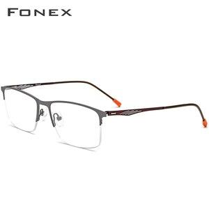 Image 2 - نظارات رجالية من FONEX بإطار مربع وصفة طبية نظارات إطار قصر النظر شبه بدون إطار نظارات بدون مسامير كورية 8836