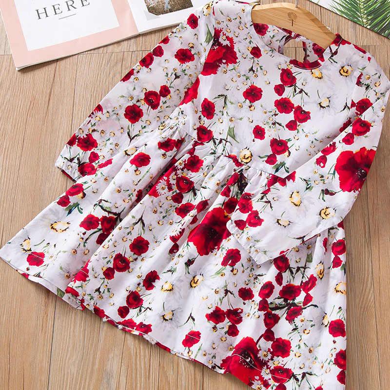 Sukienka dla dziewczynki dla dzieci śliczna uczennica bez rękawów z nadrukiem kwiatowym bawełniana i lniana sukienka kwiatowa dla dziewczynki wiosenne letnie sukienki