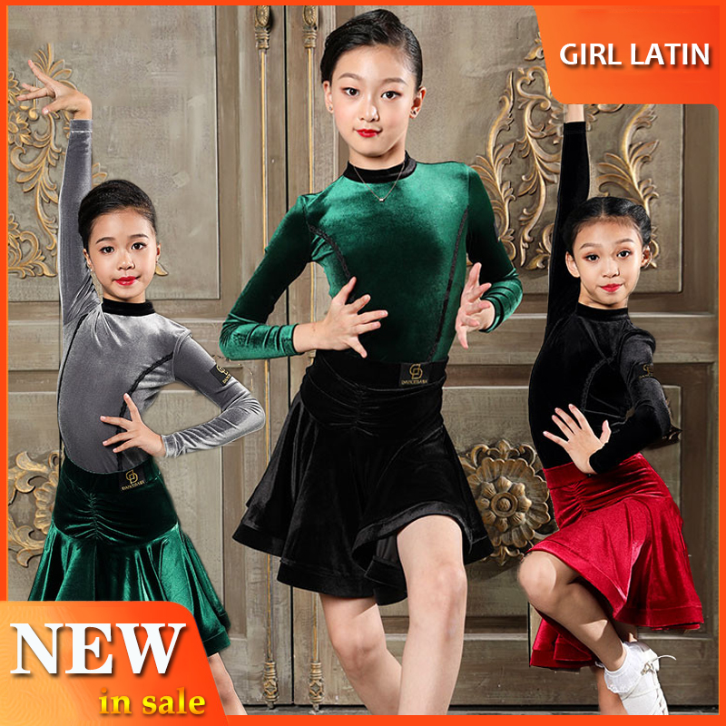 New Girls Latin Dance Clothes Dancing Tops 2019 Autumn Winter Long Sleeve Dress Practice Wear ChaCha Children Dance Wear BL2803