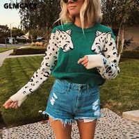 Femmes Animal tricoté Pull décontracté O cou à manches longues Pull pulls automne basique Pull Femme à tricoter chandails pulls