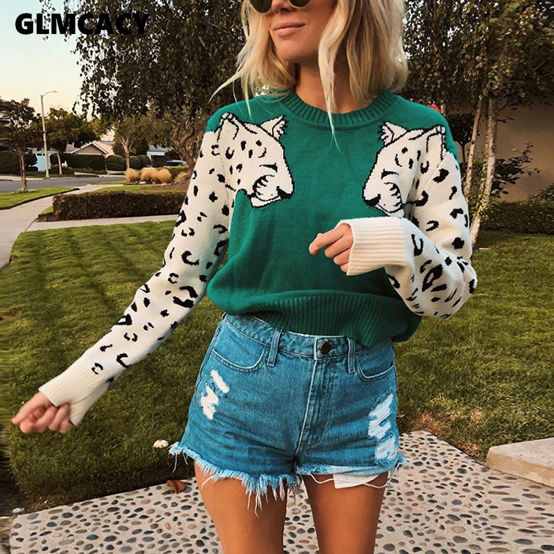 Women Animal Knitted Sweater Casual O Neck Long Sleeve Sweater Pullovers Autumn Basic Pull Femme Knitting Sweaters Jumpers