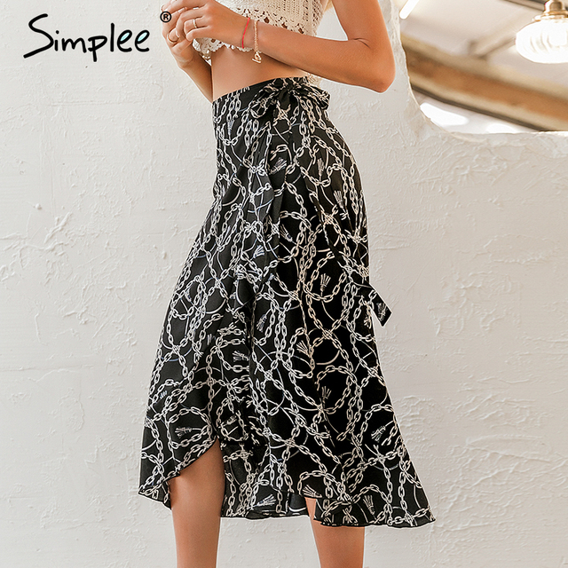 Simplee Fashion chain print women midi skirt Elegant lace up mid waist female wrap skirt Spring summer chic ladies skirts bottom 3