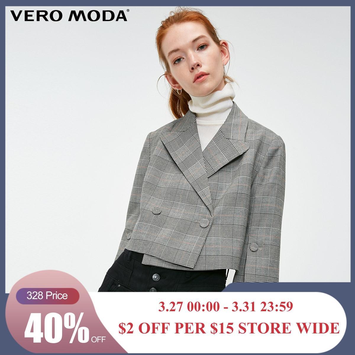 Vero Moda Women's OL Style Plaid Lapel Short Blazer | 319108506
