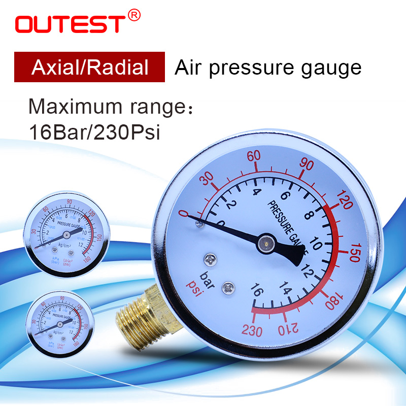 OUTEST 16 Bar Radial Axial Metal Manometer Pressure Gauge Air Compressor Air Pump Pressure Gauge Thread Outer Diameter 13mm