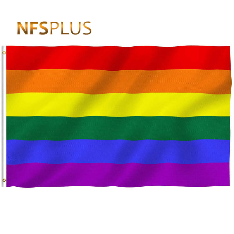 Rainbow LGBT <font><b>Flag</b></font> Gay <font><b>Pride</b></font> Lesbian <font><b>Bisexual</b></font> Transgender Pansexual 90x150cm Polyester Home Party Decorative <font><b>Flags</b></font> and Banners image