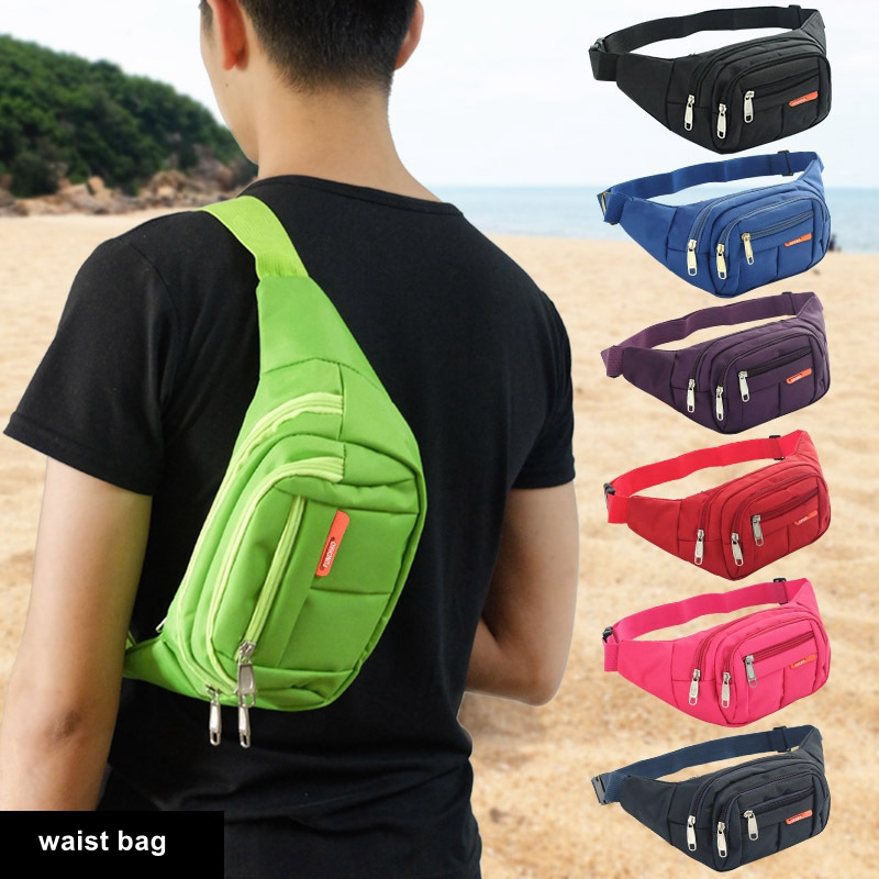 Men Waist Bag Women Casual Shoulder Bags Black Multi-layer Chest Bag Waterproof Cashier Sports Running Red Blue Green Packs