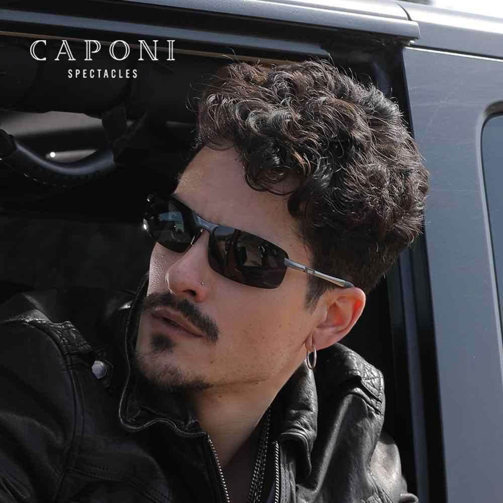 Caponi 2020 óculos de sol para homem polarizado dia driving shades para masculino uv400 proteção moldura de alumínio óculos de sol dos homens cp3043