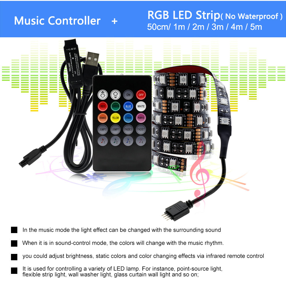 Hda7fabbd6d0c4828a964869d321d034fT USB LED Strip 5050 RGB Changeable 5V Waterproof / No Waterproof 0.5m 1m 2m with USB Controller Set DIY TV Decoration LED Light.