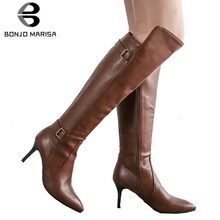 BONJOMARISA Plus Size 34-47 Elegant Knight Boots Ladies Black Pointed Toe Knee High Boots Women 2019 Thin High Heels Shoes Woman стоимость