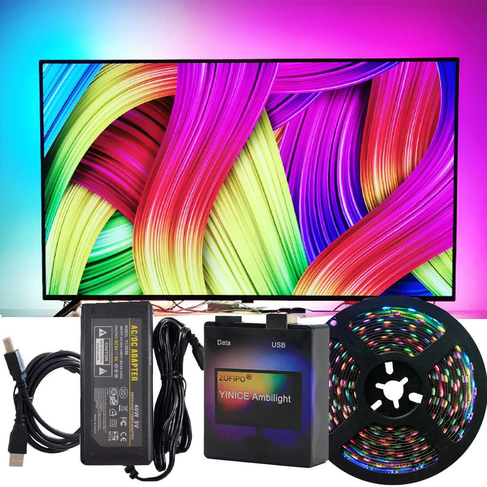 DIY Ambilight TV PC Traum Bildschirm USB WS2812B LED Streifen HDTV Computer Monitor Hintergrundbeleuchtung Address 2812 Band 1/2/3/4/5m Vollen Satz