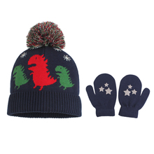 Dinosaurs Cartoon Baby Beanie Hat Knitted Warm Boys Cute Pompom Children For Autumn Clothing 0-5Y