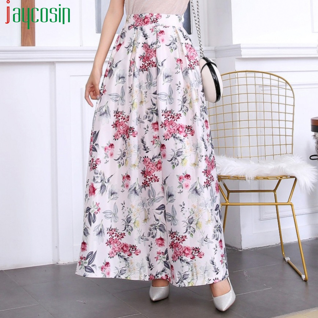 Women's Long Floral Print Skirt Pleated High Waist A-line Fashion Female Breathable Casual Skirt Ladies Plus Size Skirt