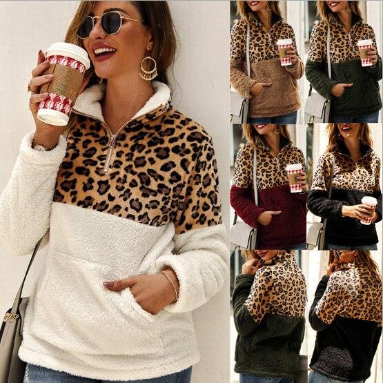Women Fleece Sweatshirt Winter Casual Faux Fur Leopard Patchwork Fluffly Female Hoodies Warm Turtleneck Zipper Thick Sherpa Tops