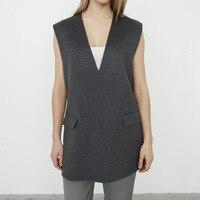 2020 Autumn Winter Women Woolen vest Lady V neck Sleeveless Side Split Sweater Pullover Top