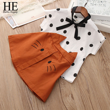 HE Hello Enjoy Girls Fashion Clothes Set New Lovely Dot Shirt With Cat Skirt Summer Outfit Cotton Kids Children Clothing