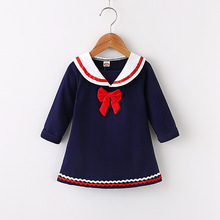 Little Girls Navy Style Dress Kids Long Sleeve T-shirt Dresses Toddler Dress Princess Costume Spring Autumn Baby Girls Gowns autumn winter girls princess mini dress kids baby girls party wedding pageant long sleeve sweater dresses cute ball kids costume