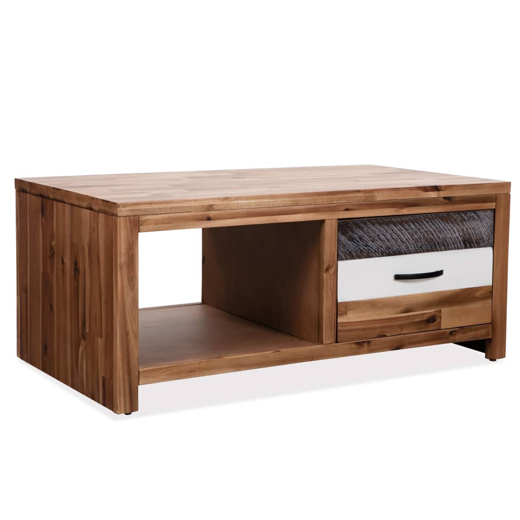 VidaXL Coffee Table Solid Acacia Wood 90x50x37.5 Cm