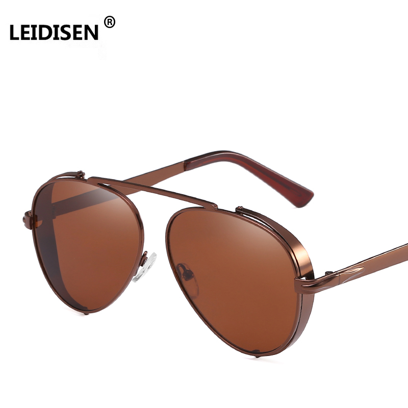 LEIDISEN Retro Mens Punk Sunglasses Men Women Style Reflective Lens Shades UV400 Fashion Brown Red Black Sun Glasses