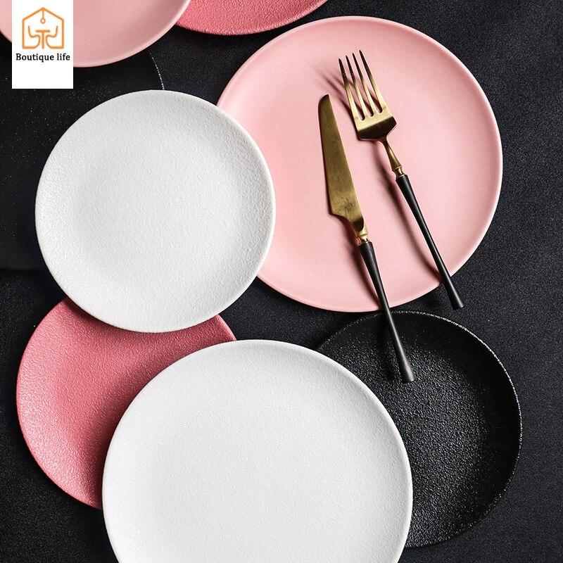 Macaron placa de jantar placa de bife rosa cerâmica dim sum criativo utensílios de mesa placa dim sum japonês-estilo coreano placa de macarrão áspero