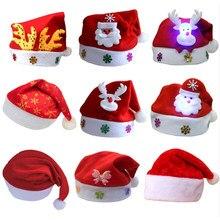 Año Nuevo Navidad feliz sombrero de Navidad luz LED tapa de felpa gruesa caliente sombrero de noel para niños adultos regalo de Navidad 2020