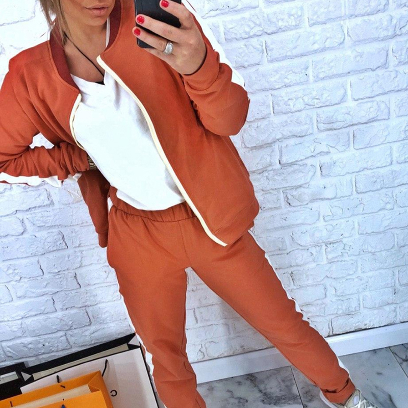 Autumn Women's Tracksuit Sport Suit 2019 Casual Female 2 Piece Sport Tops And Pants Patchwork Zipper Gym Clothing Running Suit