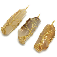LE SKY 2019 Gold Color Tree of Life Wire Wrap Water Drop Necklace & Pendant Reiki Natural Gem Stone Women Men Jewelry Yx Jewelry