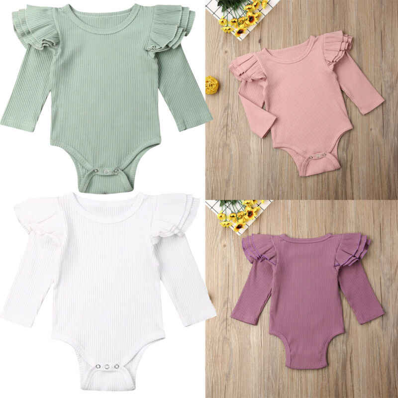 Yenidoğan bebek kız Bodysuits kış katı fırfır Bodysuits kız uzun kollu tulum Bodysuit kıyafet örme bebek giysileri