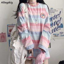 T-shirts à rayures pour femmes, Style japonais arc-en-ciel, rose, ample, loisirs BF Harajuku, étudiants, Top confortable pour dames