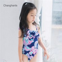 2015 new baby girl swimsuit 1 piece style color deep blue with flowers pattern fit 2-6 years old UV protection function