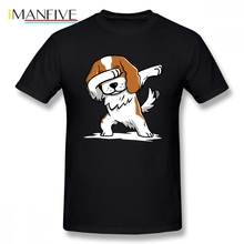 Mens T-shirts Dabbing Cavalier King Charles Spaniel Short Sleeved Cotton Round Neck Big Size T Shirt For Male Camisa