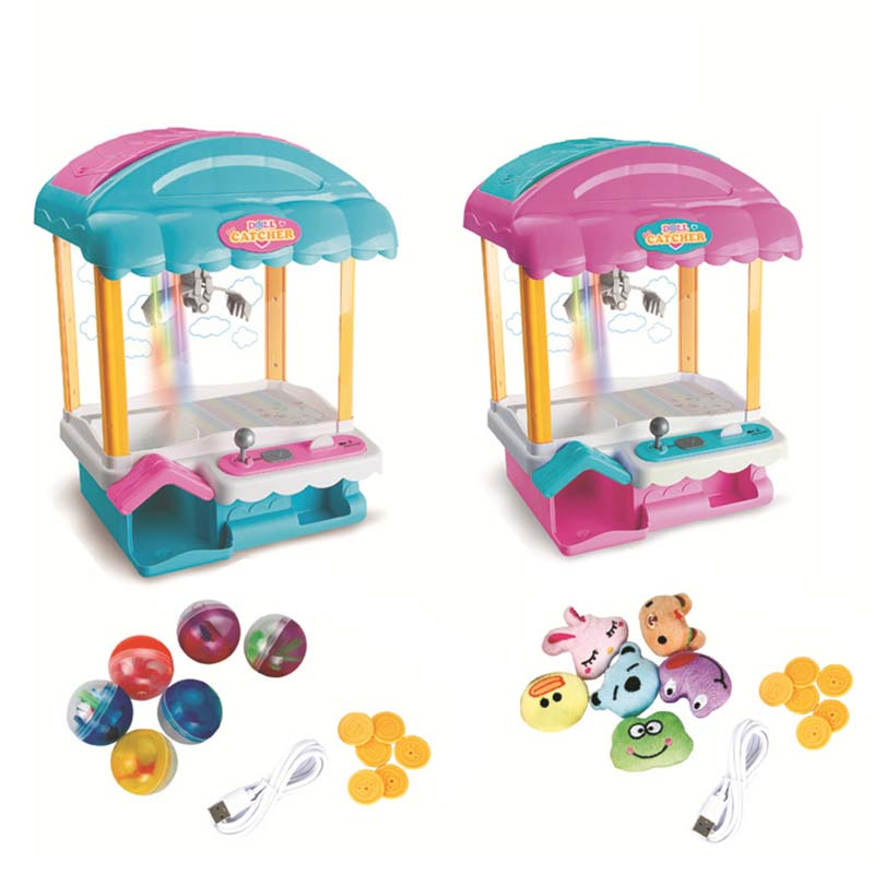 Electronic Mini Claw Arcade Crane Doll Grabber Machine Toy Candy Grab Machine With Music And Light Kids Catching Doll Game Toys