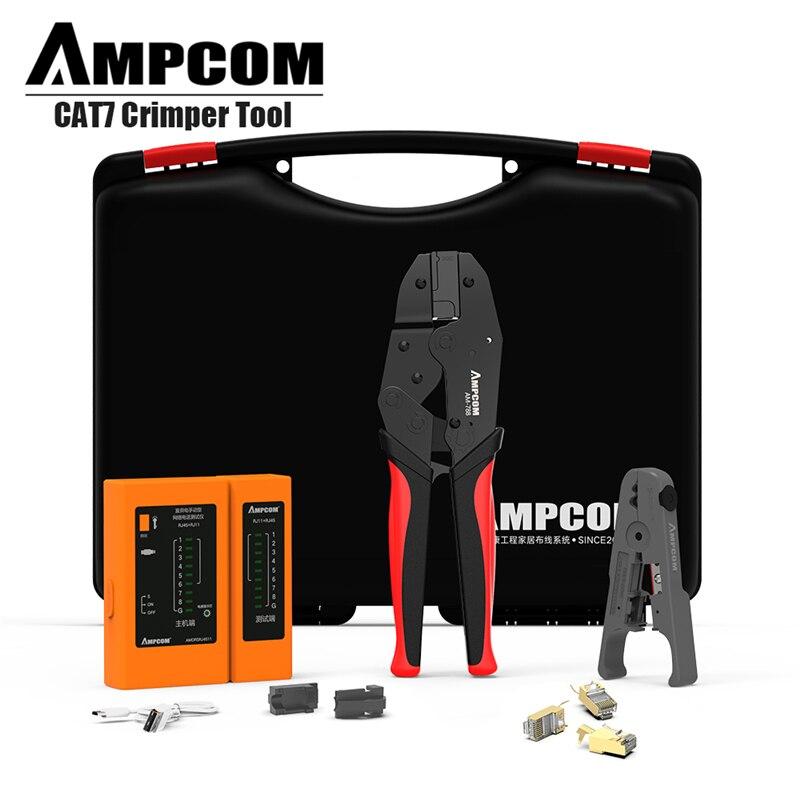 Сетевой набор инструментов, AMPCOM профессиональный инструмент RJ45 (Cat7 щипцы, 10 шт. Cat7 разъемы, тестер сетевого кабеля, инструмент для зачистки)