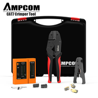 Network Tool Kit, AMPCOM Professional RJ45 tool (Cat7 Crimper, 10PCS Cat7 Connectors, Network Cable Tester, Stripping Tool)