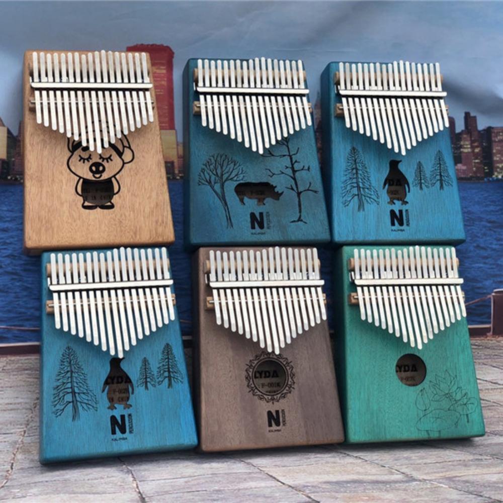 17 Keys Kalimba Thumb Piano High Quality Portable Cartoon Pattern Wooden Mahogany Body Musical Instrument New