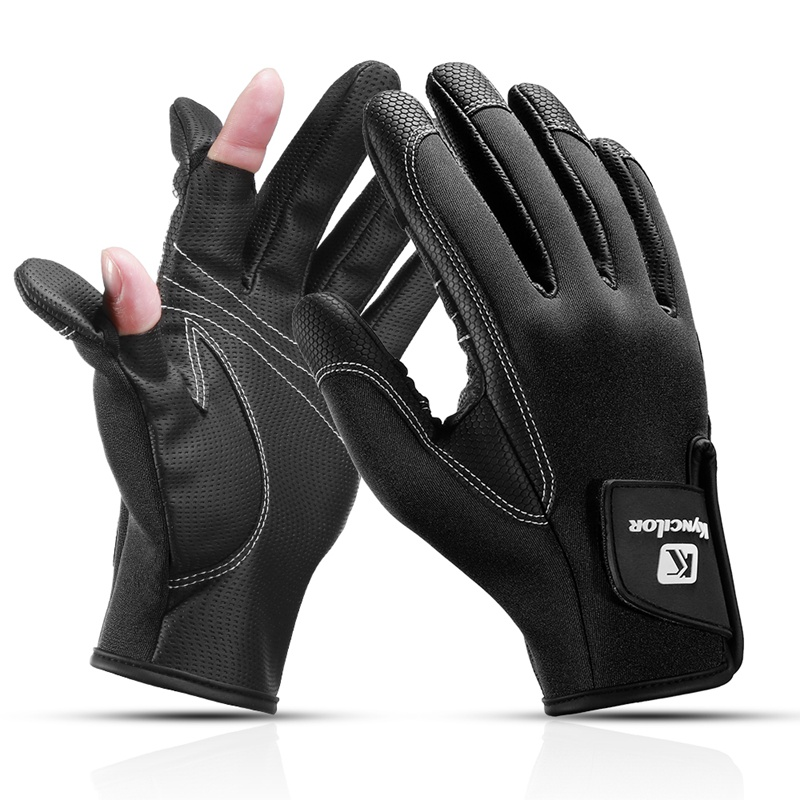 1 Pair/set 2 Half-Finger Breathable Leather Gloves Sport Winter Fishing Gloves Anti-Slip Waterproof Cycling Fishing Glove