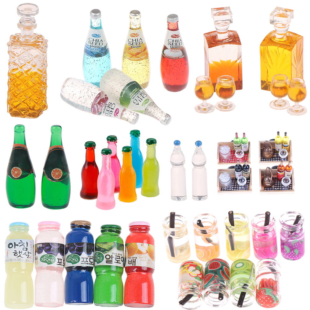 Dollhouse Orange Lemon Juice Drink Tomato Sauce Water Fruit Wine Bottle Model Food Pretend Play Kitchen Toys Accessory