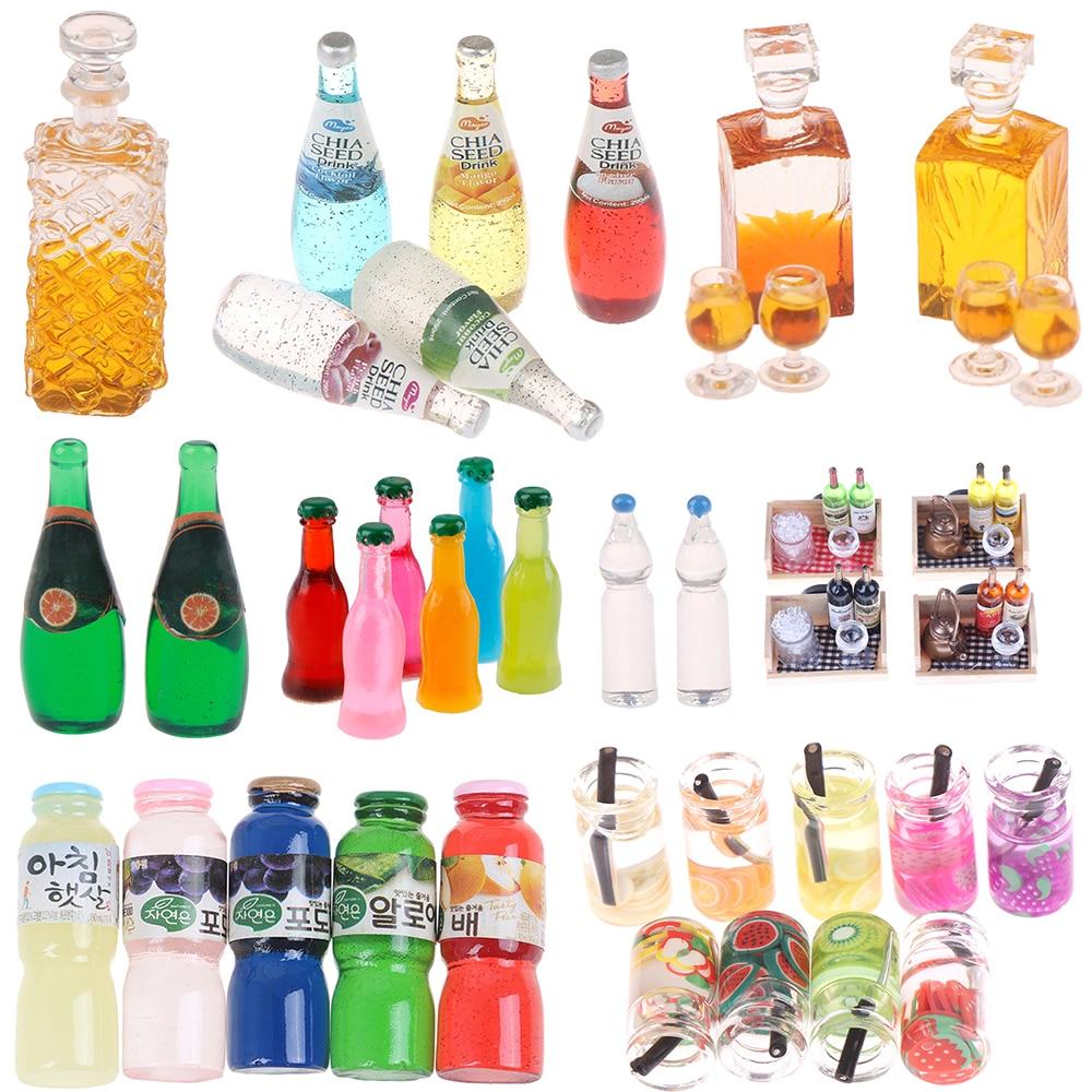 Dollhouse Orange Lemon Juice Drink Tomato Sauce Water Fruit Wine Bottle Model Food Pretend Play Kitchen Toys Accessory