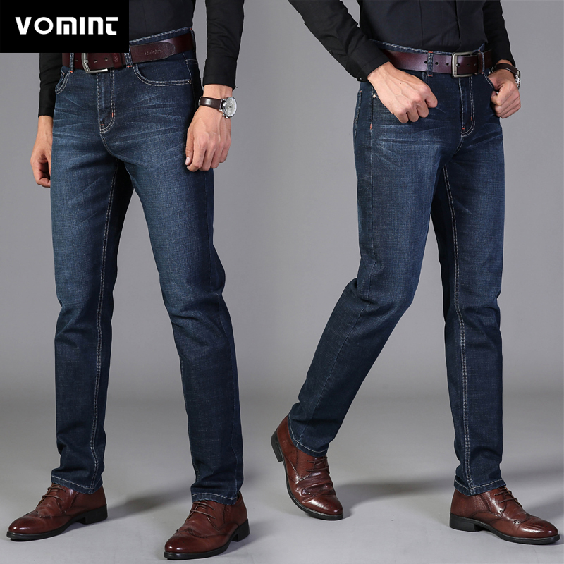 2020 Vomint Pants Men's Casual Cotton Autumn Denim Straight Cotton Loose Work Long Pants Jeans Blue Black Pants