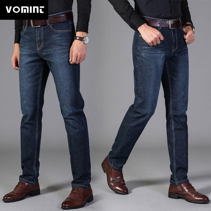 2020 Vomint Pants Men's Casual Cotton Autumn Denim Straight Cotton Loose Work Long Pants Jeans Blue Black Pants